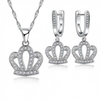JEMMIN AAA Zircon Crown Pendant Necklace Hook Earrings Jewelry Gift Sets For Women Girls - White - C712O68JFB5