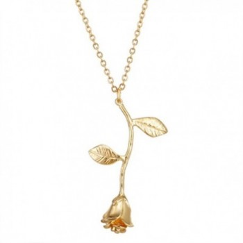 Cyntan Rose Flower Pendent Necklaces For Women Gold Tone Metal Chain - Style 1 - CK189WTD2HH