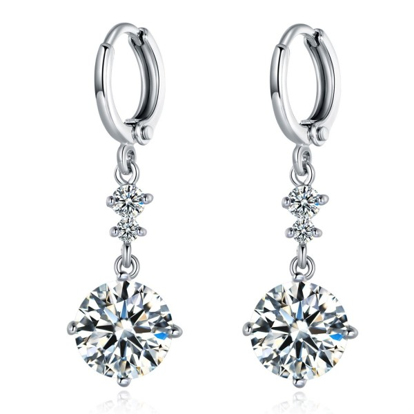 MASOP White Gold Color Round Crystal Long Drop Dangle Earrings for Women Girls Leverback - White - C317Z73G75A
