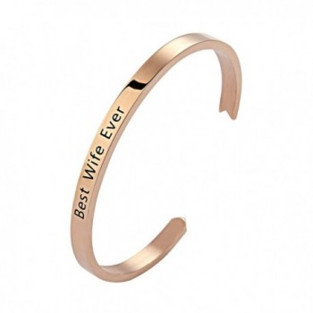 Meibai Best Wife Ever Womens Stainless Steel Arrow Cuff Bangle Bracelet Gift for Her - Rose Gold - C3182KE08QS