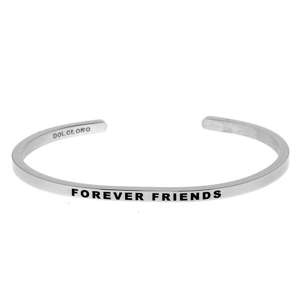Mantra Phrase: FOREVER FRIENDS - 316L Surgical Steel Cuff Band - CM12NYET8QW