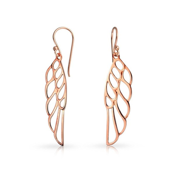 Rose Gold Plated .925 Silver Angel Wing Drop Earrings - C911NW25HNP