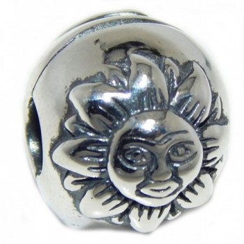 "Solid 925 Sterling Silver ""Ball with the Sun and the Moon"" Clip Lock Charm Bead - C712NW12F78"