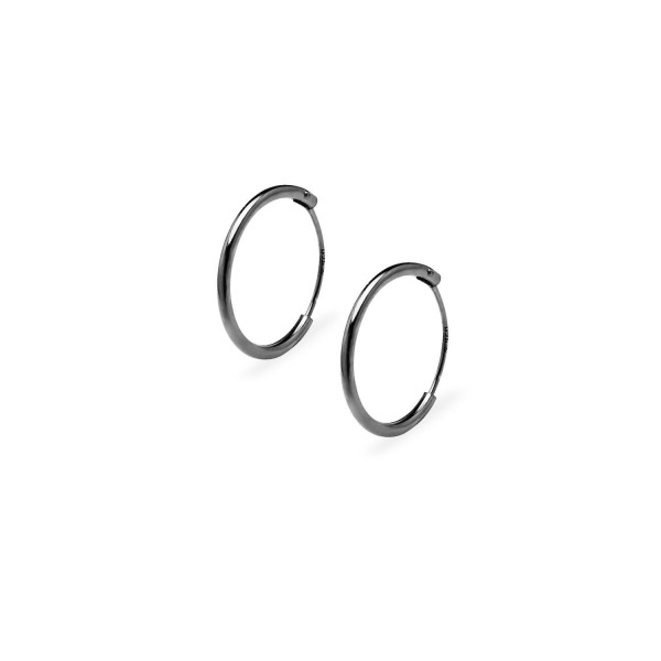 Endless Hoop Earrings Sterling Silver - Thin 14mm available in 4 Colors - Black Flash Rhodium Sterling Silver - CA186SYLU0C