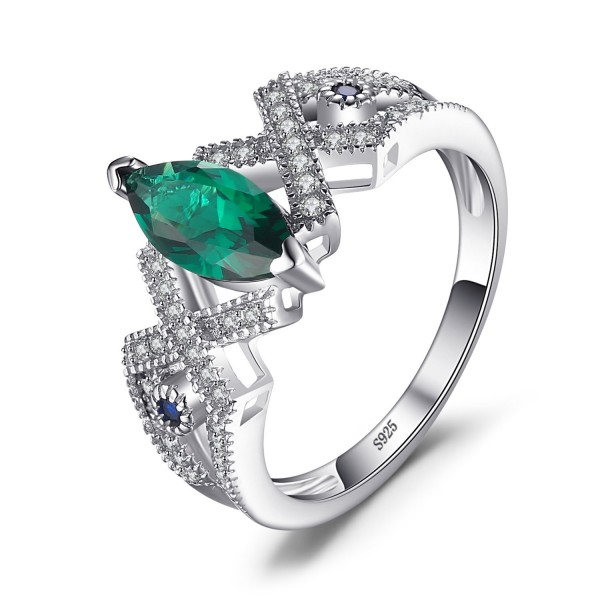 JewelryPalace Marquise 2.5ct Nano Russian Simulated Emerald Statement Ring 925 Sterling Silver - CB1834CM3GU