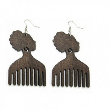 Afro Pick Wood Drop Earings - Dark Brown - C912OBPF1XZ