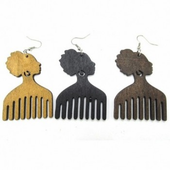 Afro Pick Wood Earrings Brown