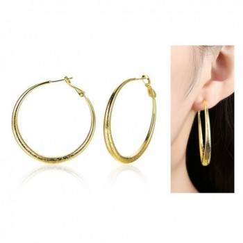 Eternity J. Gold Plated Round Hoop Earrings 40mm Diameter - gold - C01820CH0HU