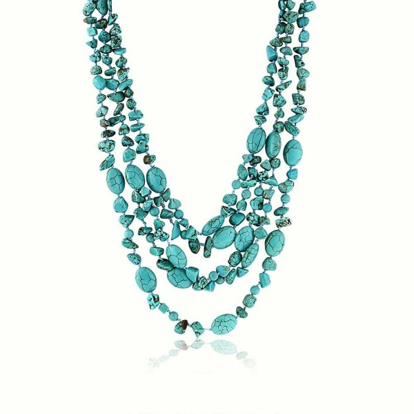 20 Inch Stunning 3 Strands Green Simulated Turquoise Necklace with Toggle Clasp - CM11D6N23DR