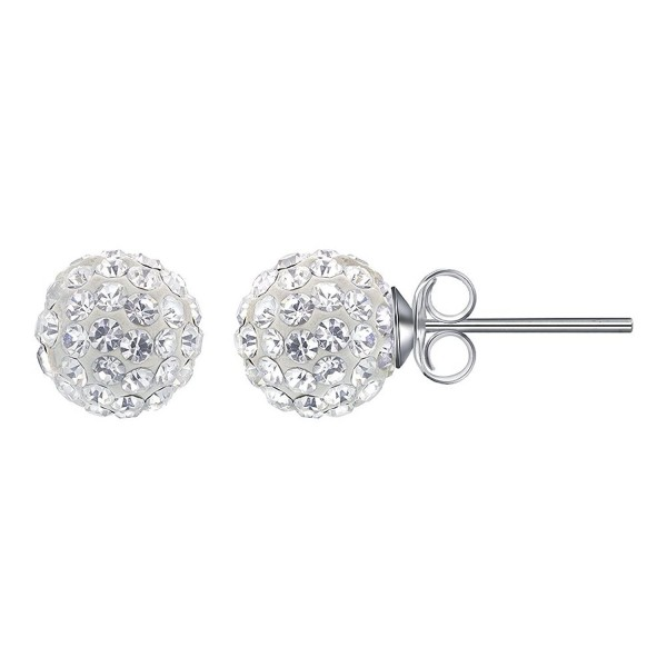 Gem Avenue 925 Sterling Silver 8mm Round Clear Crystal Ball Post Back Stud Earrings - CH115VMQ7ZB