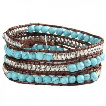 UNIONTOP Natural Turquoise Bead Genuine Leather Bracelet- 4 Wraps- 6mm/bead - CU12F2LF4VD