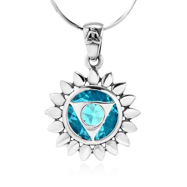 925 Sterling Silver Blue Glass Vishuddha Throat Chakra Healing Pendant Necklace- 18 inches - CR11O1WV49B