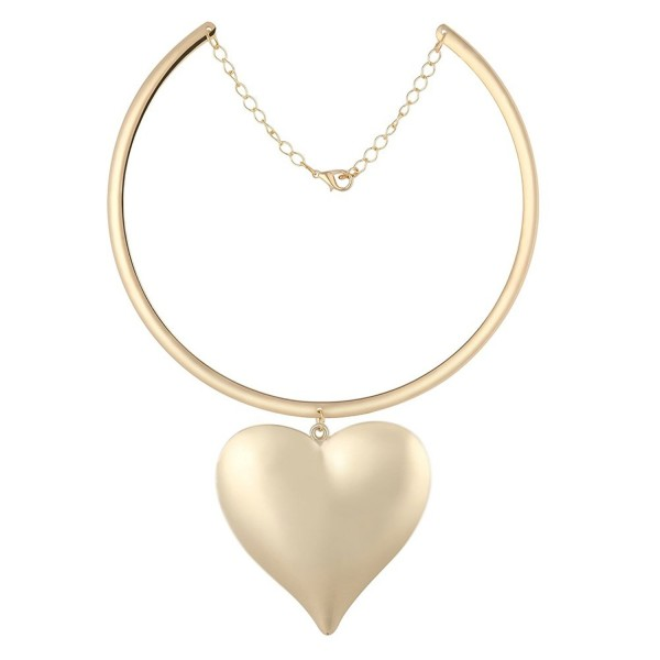 GEM.C Stylish Golden Heart Pendant Choker Necklace - CS12N19QMQY