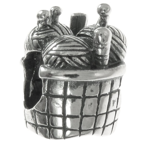 Sterling Silver Knitting Wool Needle Basket Bead For European Charm Bracelets - C6116KFTGGZ