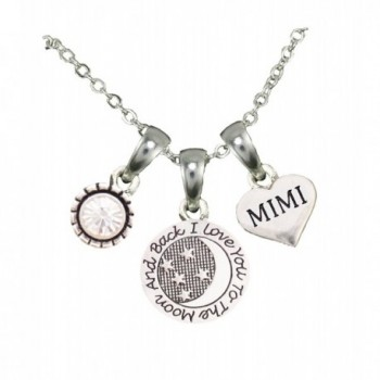 Mimi Love You To The Moon Silver Chain Necklace Heart Jewelry Grandmother Gift - CR12BNN52WZ