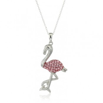"""Silver Plated Crystal Critter Pendant Necklace- 18"""" - FLAMINGO - CJ11UYIWGWF"""