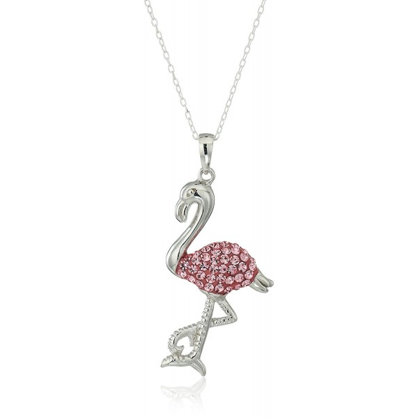 "Silver Plated Crystal Critter Pendant Necklace- 18"" - FLAMINGO - CJ11UYIWGWF"