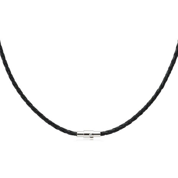3mm Black Braided Bolo Leather Necklace Magnetic Clasp - C711R4YR12H