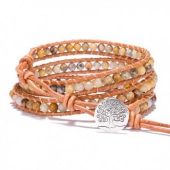 Bonnie Leather Wrap Bracelet Bead Tree of Life Handmade 3 Wrap Bangle For Men - CW17Z5MTD89