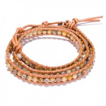 Handmade Bangle Bracelet Leather Button in Women's Strand Bracelets