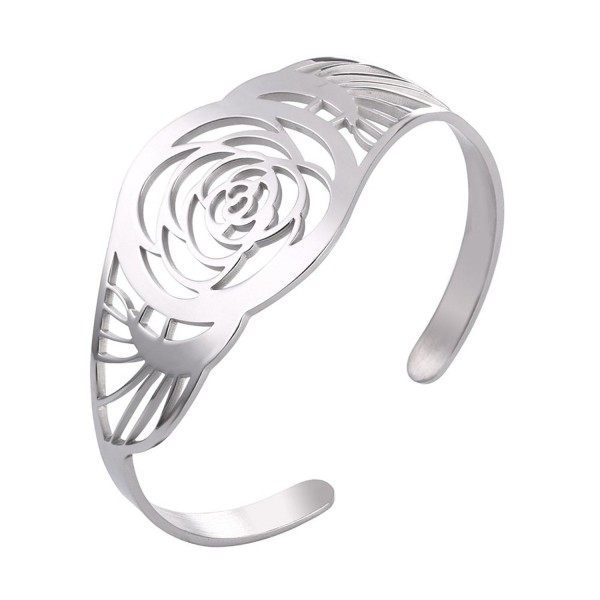 U7 Rose Flower Cuff Bracelet Stainless Steel Hollow Fashion Bangle - White - CW185Q2T2MH