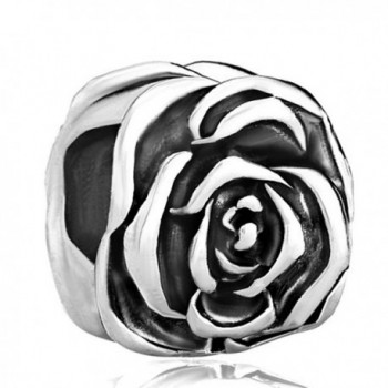 CharmsStory Rose Flower Silver Plated Charm Beads Charms For Bracelets - CF11RB8A28F