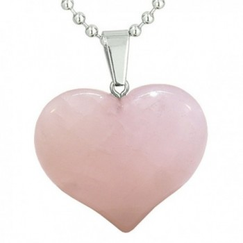 Amulet Large Puffy Heart Rose Quartz Gemstone Healing Powers Pendant 18 Inch Necklace - C611CWQEACP