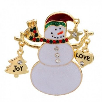 Christmas Xmas Holiday White Enamel Crystal Snowman Brooch Pin Jewelry Gift - Snowman Brooch Pin - C3188HXG303
