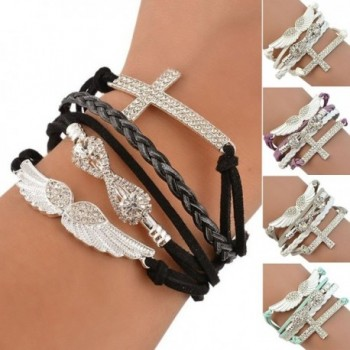 Polytree Womens Rhinestone Leather Bracelet