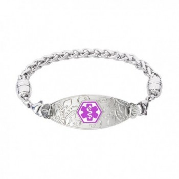 Divoti Custom Engraved Lovely Filigree Medical Alert Bracelet -Wheat Stainless -Purple - C412O62OAXT