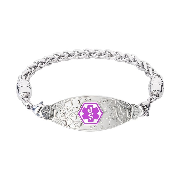 Divoti Custom Engraved Lovely Filigree Medical Alert Bracelet Wheat Stainless Purple C412o62oaxt