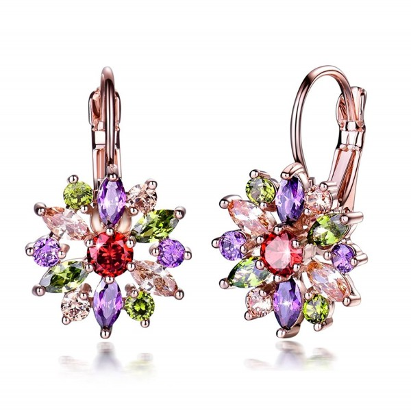 GULICX Rose Gold Color Flower Marquise Round Multicolor Cubiczirconia Hoop Cluster Earrings - C3186YKN6K0