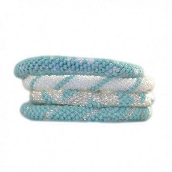 Turquoise Blue- Silver and Ivory White Beaded Bracelets Set- Roll on Your Wrist- BS57 - C111J0S10CH