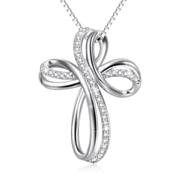 """Sterling Silver Cubic Zirconia Loop Infinity Cross Pendant Necklace 18""""Box Chain - C21895320S3"""