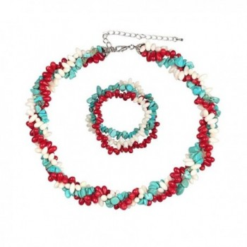 "18"" Strands Coral Cultured Freshwater Pearl Simulated Turquoise Twist Necklace + Bracelet - CN11NQSKXS9"