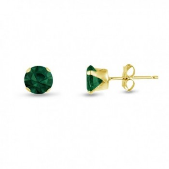 Round 4mm Simulated Emerald Stud Earrings (0.4 cttw) Sterling Silver- 14k Yellow or Rose Goldplate - CJ11JY36GOP