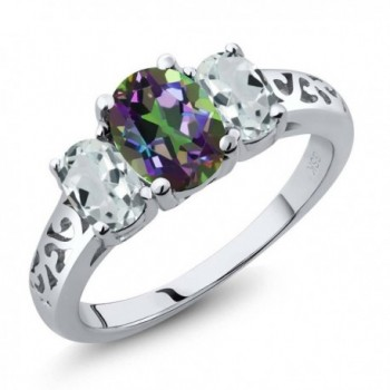 2.46 Ct Oval Mystic Topaz and Sky Aquamarine 925 Sterling Silver 3-Stone 3 Stone Ring - CO116TFGSBR