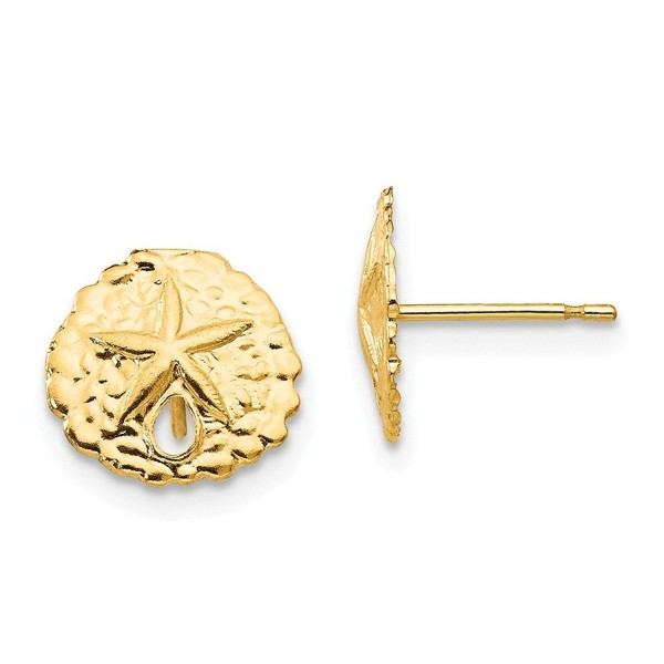Madi K 14K Yellow Gold Sand Dollar Post Earrings (Approximate Measurements 10mm x 10mm) - CE11DQUEWVB