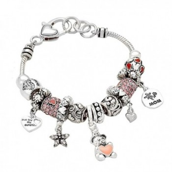"Rosemarie Collections Women's Remember Mom ""You Are My Sunshine"" Charm Bead Bracelet - CY120HHESVJ"