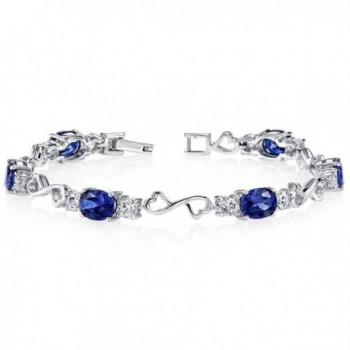 Created Sapphire Bracelet Sterling Silver Rhodium Nickel Finish CZ Accent - CC111PNJY19