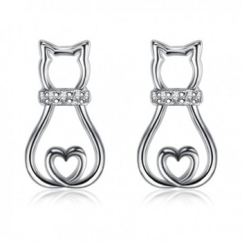 BGTY 925 Sterling Silver Cubic Zirconia Mini Cute Lovely Cat Stud Earrings For Women Ladies Girls - CV189DKA00K