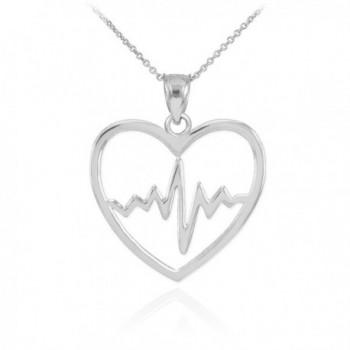 925 Sterling Silver Lifeline Pulse Heartbeat Charm Open Heart Pendant Necklace - CL11KW6OJL5