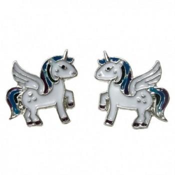 DaisyJewel Winged Unicorn Pegasus Pony Silvertone Stud Earrings - C411KPV6ZOV