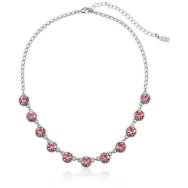 "1928 Jewelry Silver-Tone Pink Genuine Swarovski Crystal Collar Adjustable Strand Necklace- 16"" - CE11NIRU4FZ"