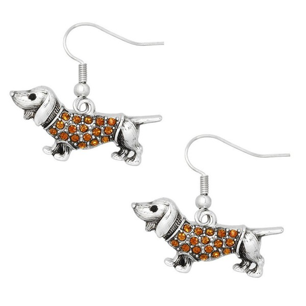 Liavy's Wiener Dog Fashionable Earrings - Fish Hook - Sparkling Crystal - Unique Gift and Souvenir - CD17Y7MCZT3