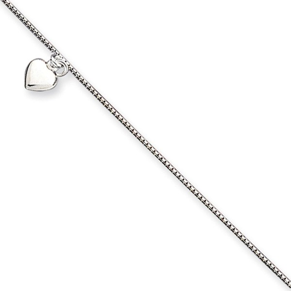 Black Bow Jewelry Sterling Silver Puffed Heart Anklet- 10 Inch - CQ114KUSUFP
