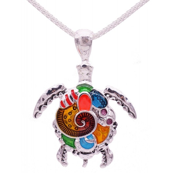 BRIGHT 'Turtle Pendant' Necklace in Beautiful GIFT BOX | Colorful Tortoise- Sea Jewelry - CU1809MWAIS