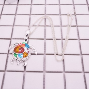 Pendant Necklace Beautiful Colorful Tortoise