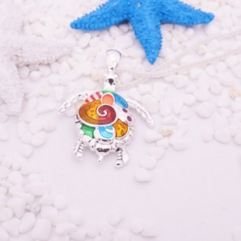 Pendant Necklace Beautiful Colorful Tortoise in Women's Pendants