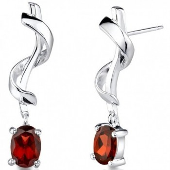 Garnet Earrings Sterling Silver Twist Design 2.00 Carats - C41137NS867